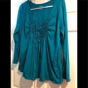 Lane Bryant women's Teal button down blouse 18/20